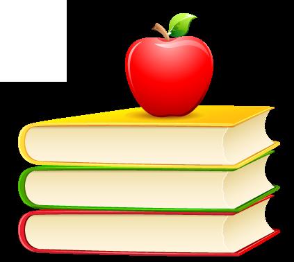 стопка книг и яблоко