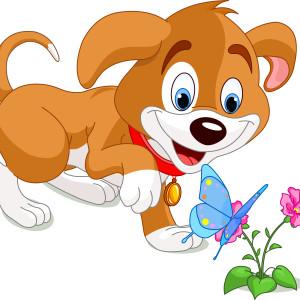 щенок с бабочкой