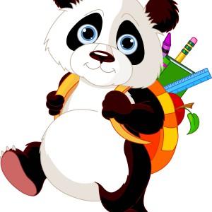 панда топает в школу