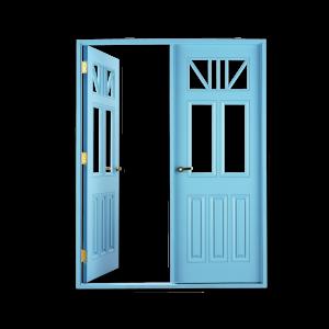 голубая открытая дверь
