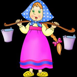 Маша с коромыслом и ведрами