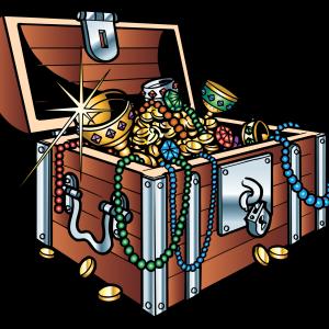 деревянный сундук с сокровищами
