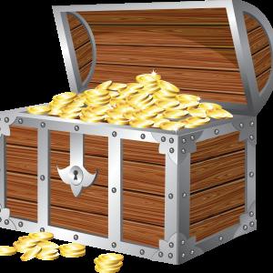 окованый деревянный сундук с золотыми монетами