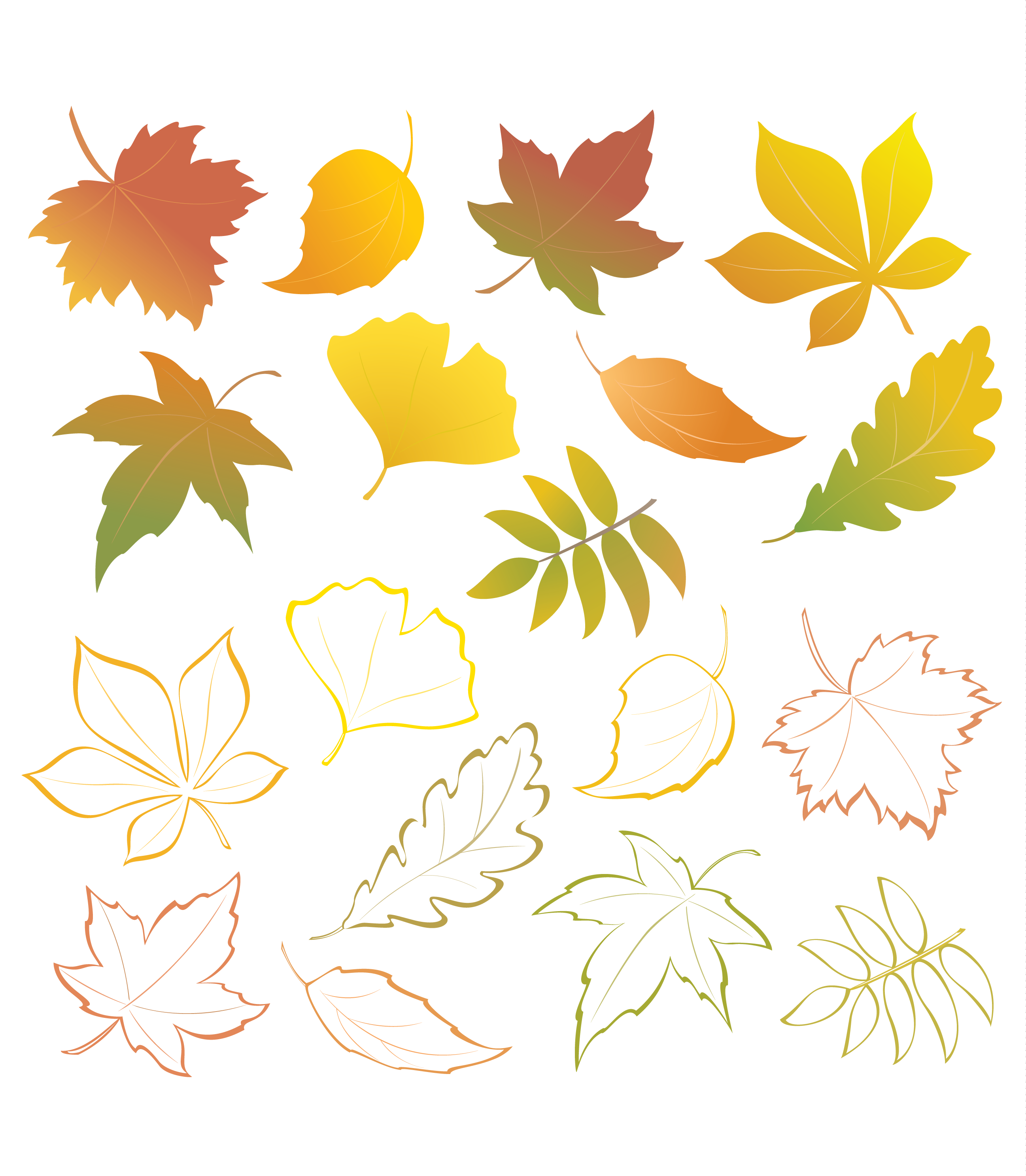 Скачать шаблоны осенних листьев для детского сада
