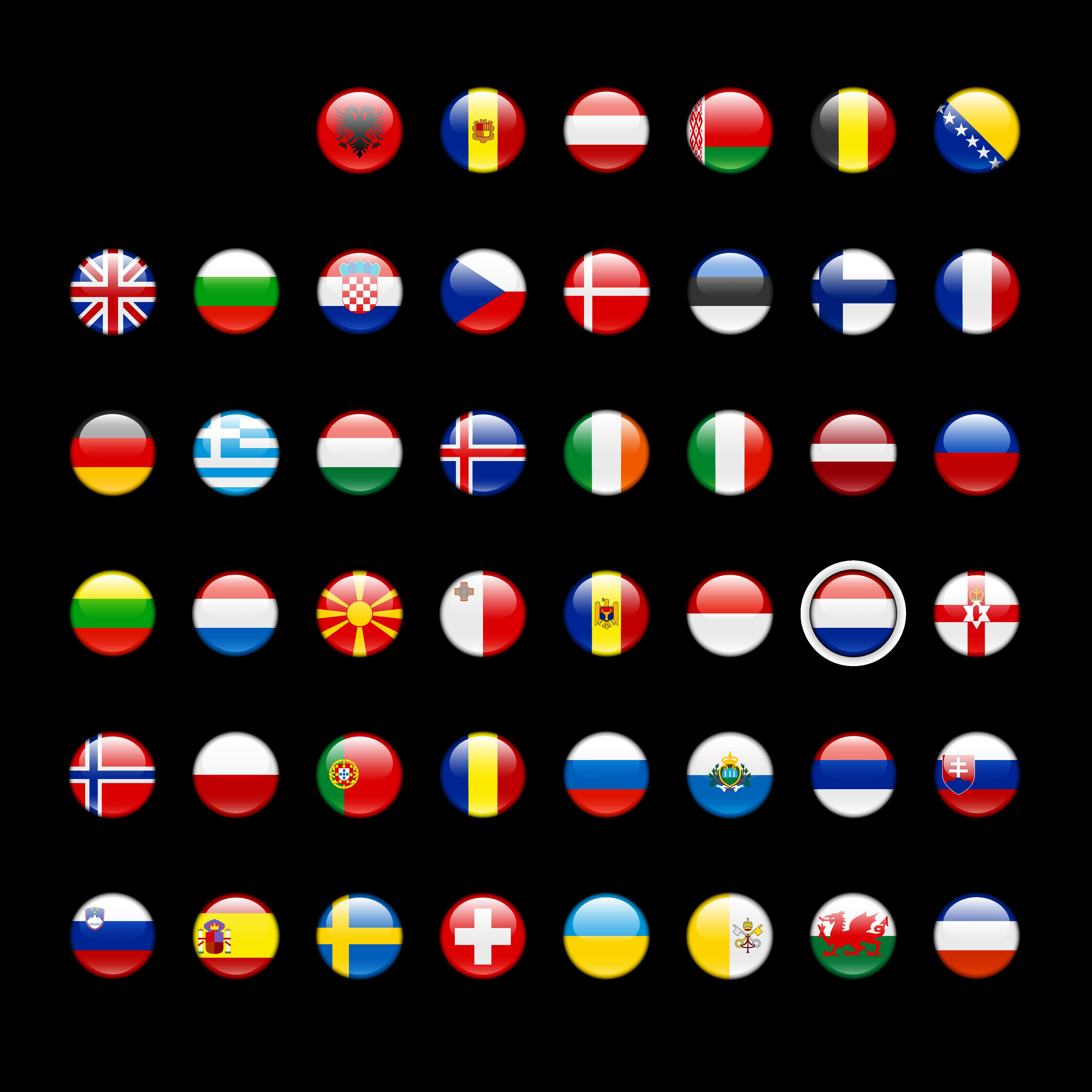 Флаги-кнопки европейских стран