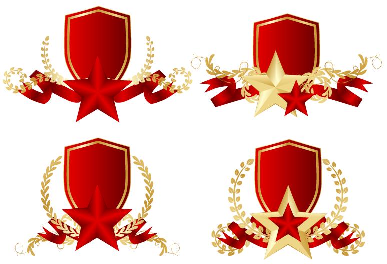звезды-красная-лента-золотой-лавровый-венок
